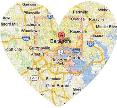 heart-shaped Map of Baltimore