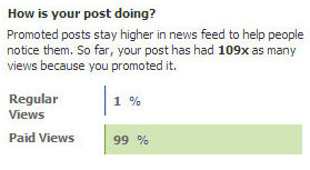 Facebook's promoted status updates statistics