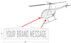 helicopter with digital billboard attached