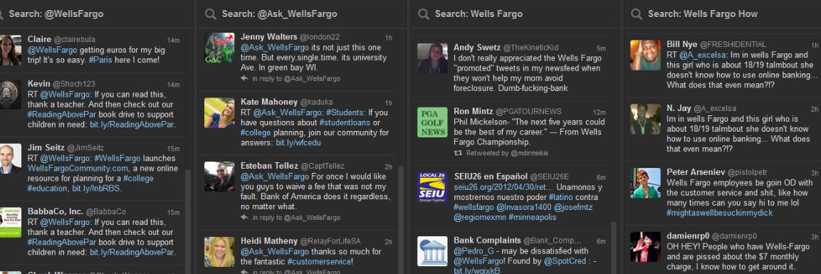 listening for keywords on wells fargo brand