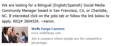 wells fargo job posting