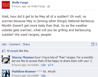 wells fargo update about bbq recipes that's not engaging