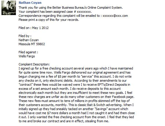 posting bbb complaint on wells fargo facebook page