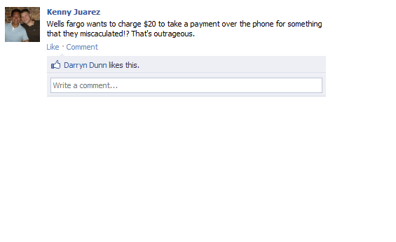 wells fargo brand negative comments on facebook about charging for payments over the phone