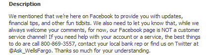 wells fargo description on facebook